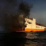 """M/n """"Repubblica di Roma"""" a Lome' 10.04.2014 incendio a bordo perdita totale"""